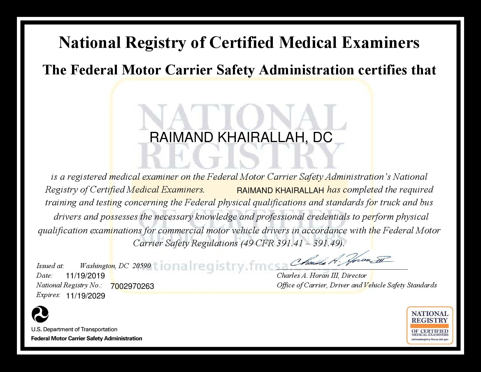 DOT7002970263 certificate page 001